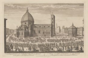 Santa Maria del Fiore: View of the Cathedral and Piazza del Duomo with the procession of Corpus Domini. After Giuseppe Zocchi.