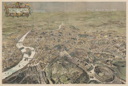 Bird's eye view of Rome: From the fortifications damaged in the Second Italian War of Independence with emphasis on the Collosseum.
