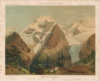 Ortles Alps with camp of von Payer who first mapped the Alps in 1865-68 With key.