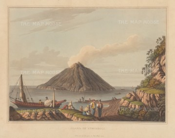 Stromboli:View of the volcano from the shores of Panerea.