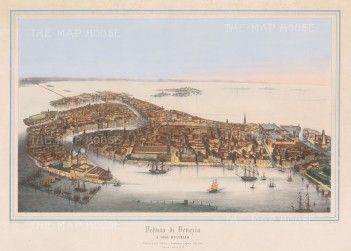 Rare Bird's Eye view of the city of Venice from the Guidecca:
