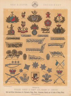 "Jones & Co: Embroidery and Cap Bades.. c1886. An original antique chromolithograph. 13"" x 18"". [MILp14]"