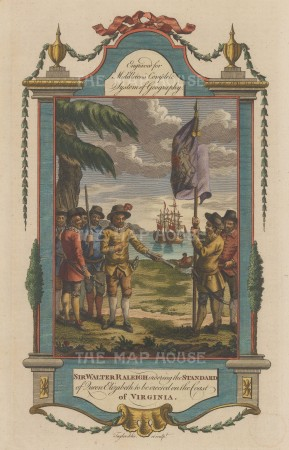 Sir Walter Raleigh: Erecting the standard of Queen Elizabeth I on the coast of Virginia.
