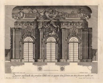Baroque Wall Design: Grand salon fenestration looking onto a garden.