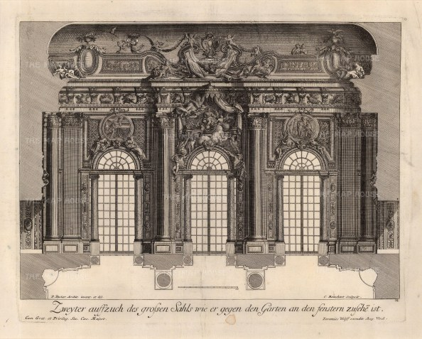 Baroque Wall Design: Grand salon fenestration looking onto a garden.