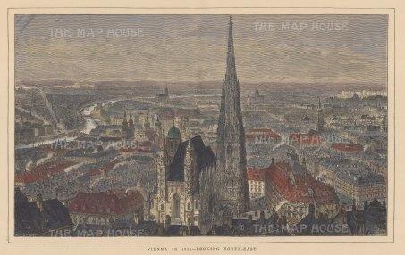 "Illustrated London News: Vienna. 1873. A hand coloured original antique wood engraving. 20"" x 15"". [AUTp214]"