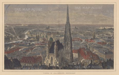 Panorama of Vienna: Looking north-east from St Stephens to the Danube.