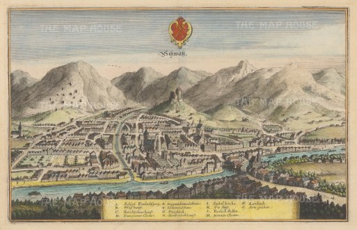 Schwarz: View of the city from across the Inn river at the foot of the Kellerjoch and Eiblschrofen mountains. With key.