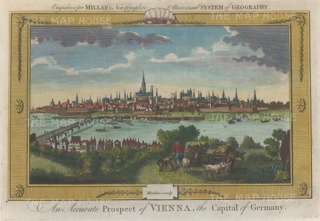 "Millar: Vienna. 1782. A hand coloured original antique copper engraving. 12"" x 8"". [AUTp222]"