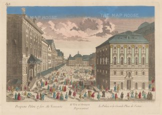 Vienna: Hofburg Palace, Perspective of the principal square looking towards the Schweizertor (Swiss gate).