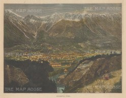 "Illustrated London News: Innsbruck. 1886. A hand coloured original antique wood engraving. 14"" x 6"". [AUTp237]"