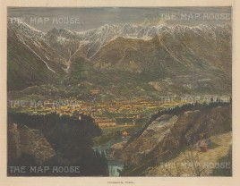 "Illustrated London News: Innsbruck. 1886. A hand coloured original antique wood engraving. 14"" x 6"". [AUTp237]"