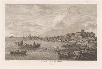 Naxos: View of Chora (Naxos City) and the shoreline.
