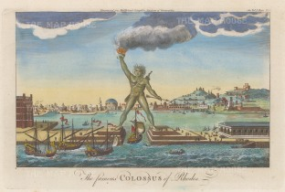 Rhodes: Colossus of Rhodes, Helios (Apollo). One of the 7 ancient wonders and destroyed by an earthquake 226 BC.