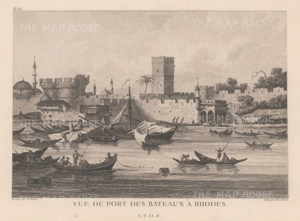 Rhodes: View of the harbour and Castle of the Grand Master.