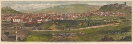 """Illustrated News: Athens. 1869. A hand coloured original antique wood engraving. 20"""" x 7"""". [GRCp868]"""