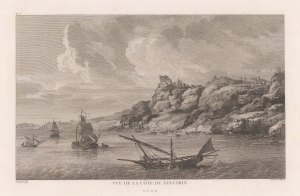 "Gouffier: Santorini. 1782. An original antique copper engraving. 15"" x 10"". [GRCp869]"