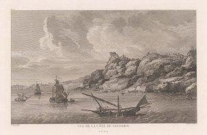 "Gouffier: Santorini. 1782. An original antique copper engraving. 15"" x 10"". [GRCp869]"