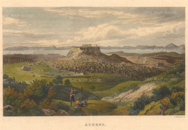 "Kelly: Athens. 1844. A hand coloured original antique steel engraving. 8"" x 5"". [GRCp875]"