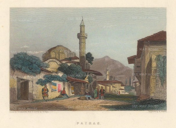"Fullarton: Patras. 1856. A hand coloured original antique steel engraving. 5"" x 4"". [GRCp881]"