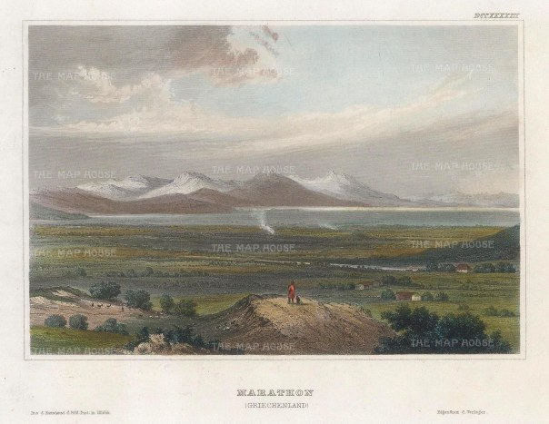 "Meyer: Marathon. 1836. A hand coloured original antique steel engraving. 6"" x 4"". [GRCp882]"