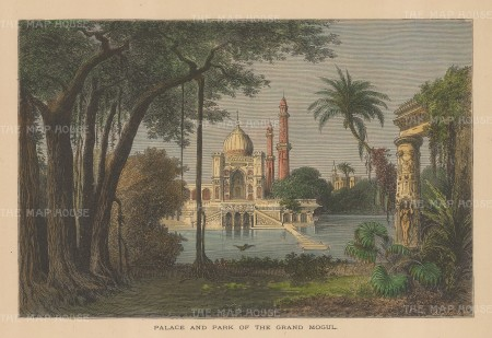 "Reclus: Taj Mahal, Agra. 1894. A hand coloured original antique wood engraving. 8"" x 6"". [INDp1430w"
