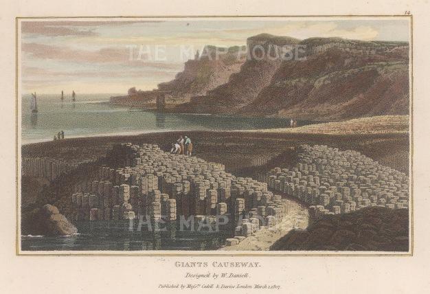 "Daniell: Giant's Causeway. 1807. A hand coloured original antique aquatint. 8"" x 5"". [IREp665]"