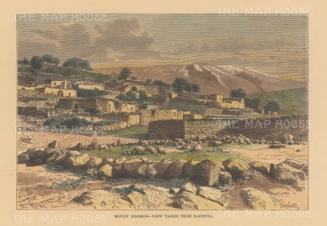 Rasheya: View of Mount Hermon over the village of Rasheya.