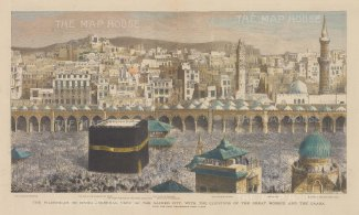 Mecca: Spectacular view of the Kaaba during the Hajj with key.