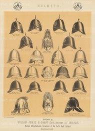 "Jones & Co: Helmets. c1886. An original antique chromolithograph. 13"" x 18"". [MILp139]"
