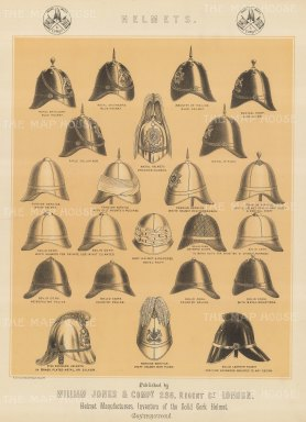 "Jones & Co: Helmets. c1886. An original antique chromolithograph. 13"" x 18"". [MILp139]"