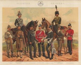 Volunteer Regiments: Yeomanry, Artillery, Rifle and Engineers.