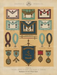 "Jones & Co: Masonic Regalia. c1886. An original antique chromolithograph. 13"" x 18"". [MISCp5548]"