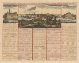 Stockholm: Panorama of Stockholm and views of the King's Palace and Jacobstal. With French text describing the government and court.