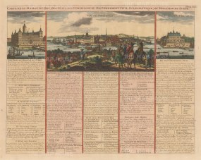 Stockholm: Panorama of Stockholm and views of the King's Palace and Jacobstal. With French text describing the government and court: