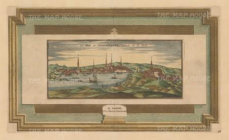 "Van der Aa: Stockholm, Sweden. c1727. A hand coloured original antique copper engraving. 17"" x 10"". [SCANp219]"