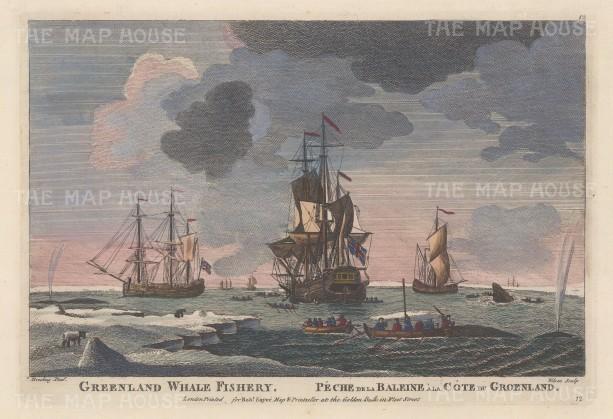 "Sayer: Whale Fishery, Greenland. c1770. A hand coloured original antique copper engraving. 12"" x 8"". [SCANp2380"