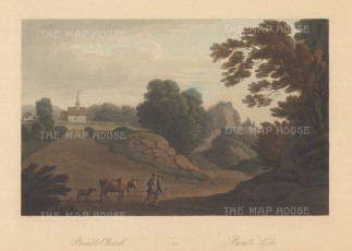 Bamble: Picturesque scene of Bamble Church and a farmer leading a cow with a collared dog following behind.