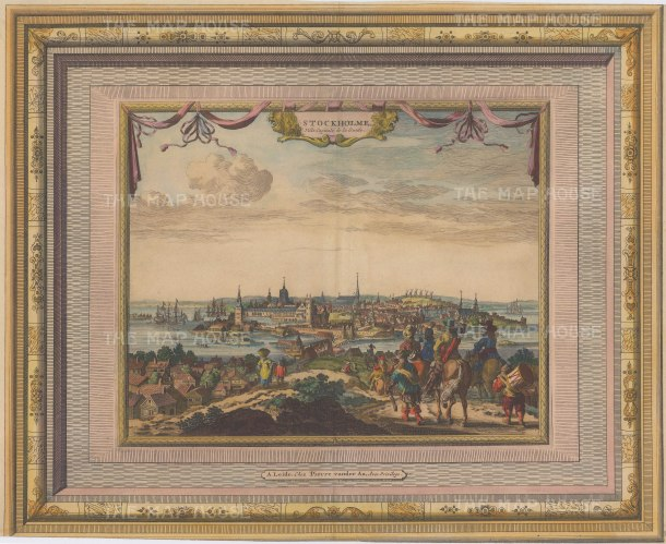 "Van der Aa: Stockholm, Sweden. c1730. A hand coloured original antique copper engraving. 17"" x 13"". [SCANp324]"