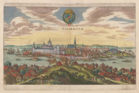 Stockholm: Panoramic view over the Old Town with the Royal Palace in the foreground.