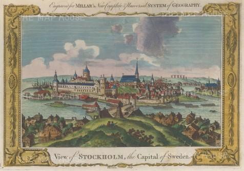 "Millar: Stockholm, Sweden. 1782. A hand coloured original antique copper engraving. 12"" x 8"". [SCANp321]"