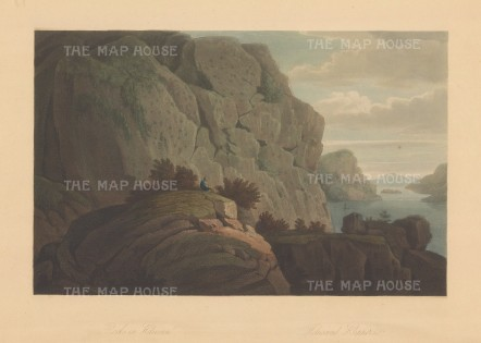 Heliusund: Picturesque scene of the granite cliffs along Crystal Lake.