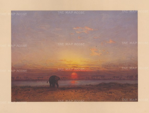 Chao Phraya River Plain: Evening view with an elephant in the foreground. Drawn from life during Hildebrandt's 'round-the-world' voyage.