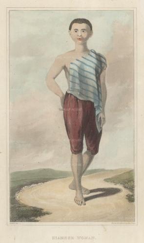 """Crawfurd: Siamese Lady. 1830. An original antique steel engraving. 5"""" x 8"""". [SEASp1630]"""