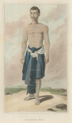 "Crawfurd: Siamese Man. 1830. An original antique steel engraving. 5"" x 8"". [SEASp1631]"