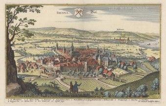 "Merian: Biel (Bienna). 1649. A hand coloured original antique copper engraving. 13"" x 9"". [SWIp700]"