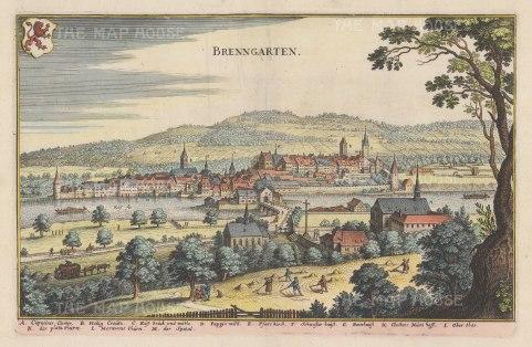 """Merian: Bremgarten. 1649. A hand coloured original antique copper engraving. 13"""" x 9"""". [SWIp701]"""