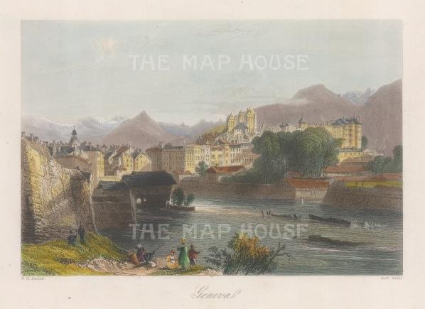 "Bartlett: Geneva. 1839. A hand coloured original antique steel engraving. 8"" x 6"". [SWIp718]"