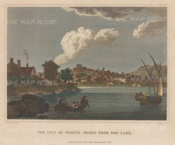 "Fisher: Geneva. 1820. A hand coloured original antique copper engraving. 9"" x 7"". [SWIp720]"