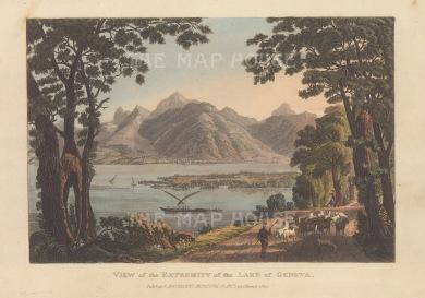 """Ackermann: Lake Geneva.1820. An original colour antique aquatint. 9"""" x 6"""". [SWIp759]"""